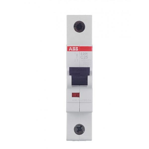 Автоматический выключатель ABB S201 (2CDS251001R0254) 1P 25А тип C 6 кА 220 В на DIN-рейку
