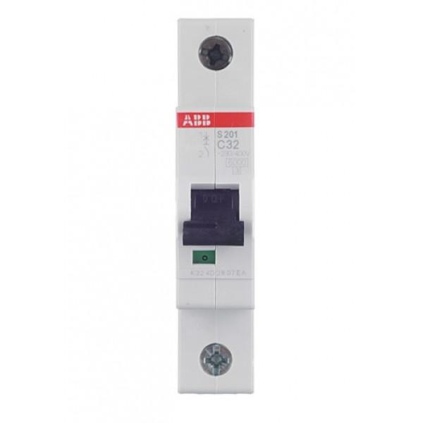 Автоматический выключатель ABB S201 (2CDS251001R0324) 1P 32А тип C 6 кА 220 В на DIN-рейку