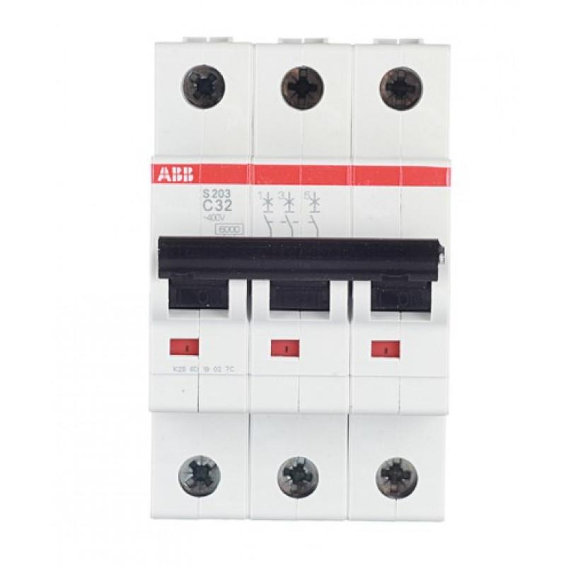 Автоматический выключатель ABB S203 (2CDS253001R0324) 3P 32А тип C 6 кА 400 В на DIN-рейку