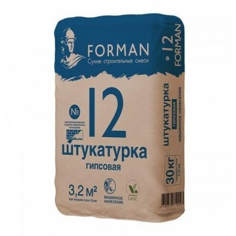 Штукатурка гипсовая Forman (Форман) 12 для машинного нанесения, цвет белый, 30 кг