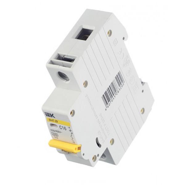 Автоматический выключатель IEK ВА 47-29 (MVA20-1-016-C) 1P 16А тип C 4,5 кА 220 В на DIN-рейку