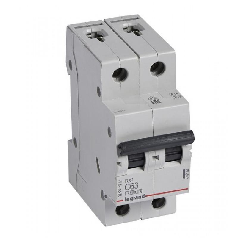 Автоматический выключатель Legrand RX3 (419703) 2P 63А тип C 4,5 кА 220 В на DIN-рейку