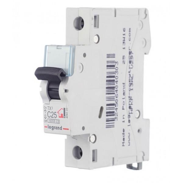 Автоматический выключатель Legrand TX3 (404030) 1P 25А тип C 6 кА 230-400 В на DIN-рейку