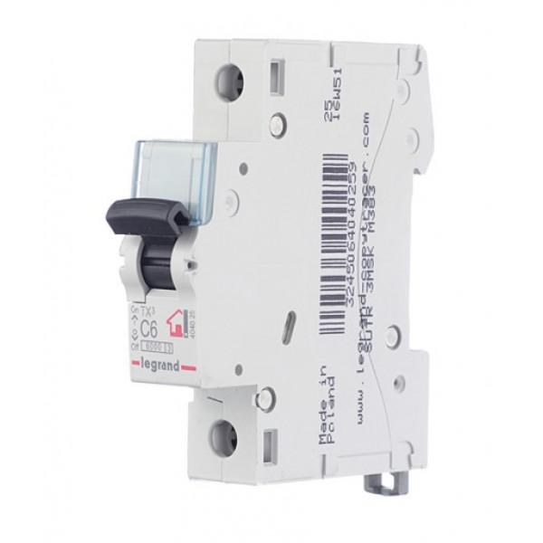 Автоматический выключатель Legrand TX3 (404025) 1P 6А тип C 6 кА 230-400 В на DIN-рейку