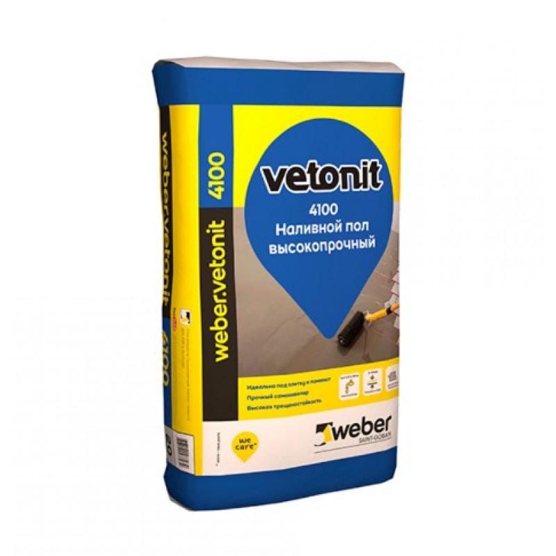 Ровнитель (наливной пол) финишный Weber.vetonit 4100 самовыравнивающийся высокопрочный 20 кг