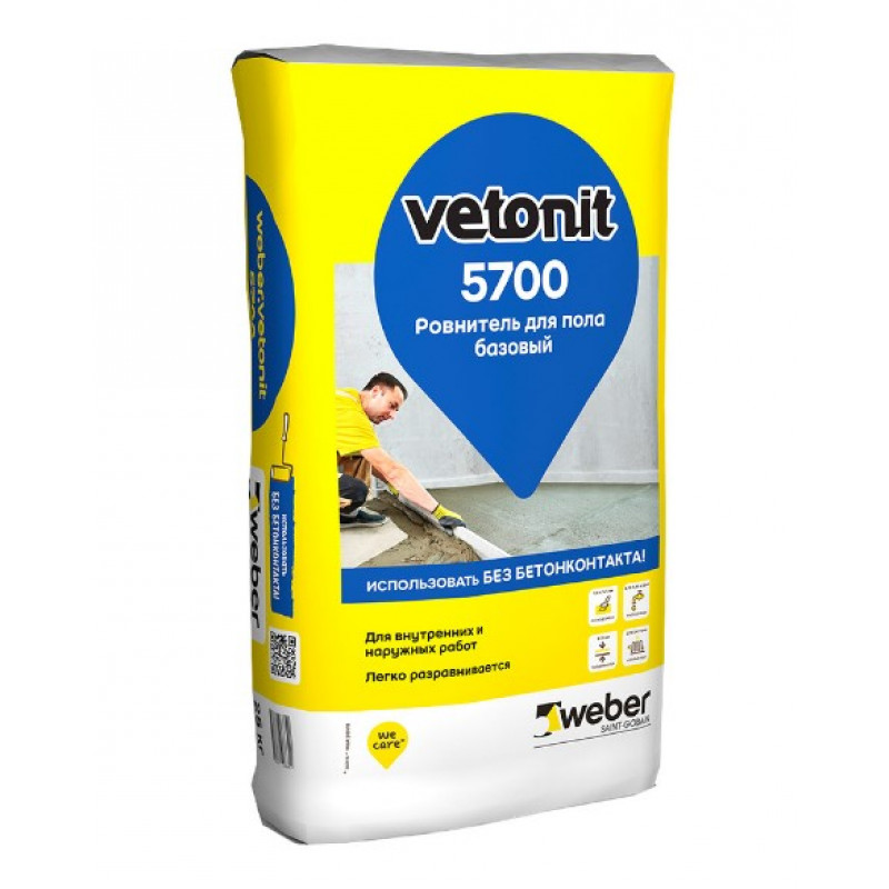 Ровнитель (стяжка пола) первичный Weber.vetonit 5700 Базовый на цементном вяжущем 25 кг