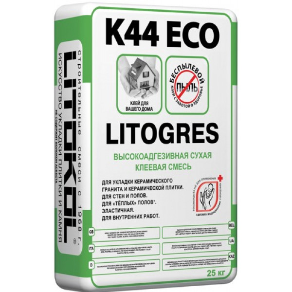 Клеевая смесь Litokol Litogres K44 Eco высокоадгезивная сухая, 25 кг