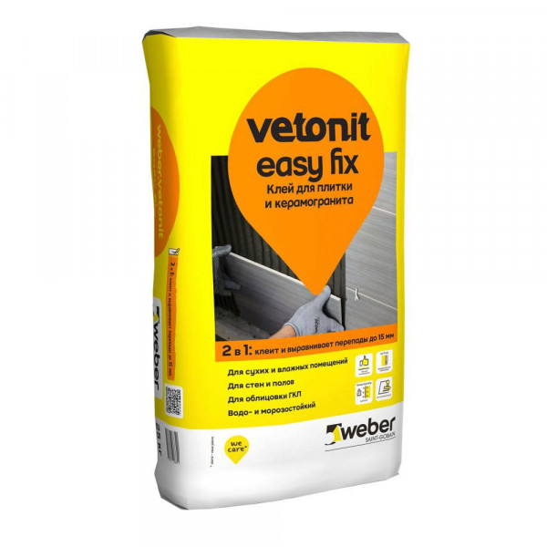 Клей для плитки и камня Weber Easy Fix, 25 кг
