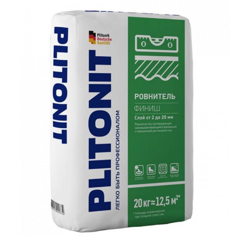 Ровнитель (наливной пол) финишный Plitonit Финиш самовыравнивающийся быстротвердеющий 20 кг
